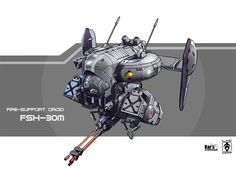 Fire-support Droid FSX-30m Picture  (2d, sci-fi, concept art, droid, drone)