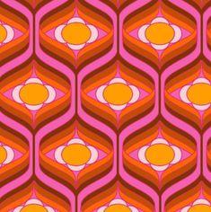 de retro bunt rosa pink orange gelb Tape humble fabric on dustn. 60s Patterns, Vintage Patterns, Textures Patterns, Print Patterns, Motif Vintage, Retro Vintage, Retro Art, Vintage Floral, Retro Fabric