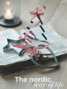 Christmas Gingham ribbon on cookie cutters- great ornaments for the tree and wreath