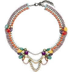 Sharra Pagano Multicolor Crystal Collar Necklace ($575) ❤ liked on Polyvore featuring jewelry, necklaces, multi, resin necklace and resin jewelry