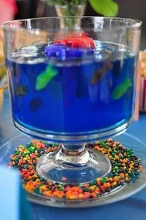 Blue Punch With Red Gummy Fish In A Fish Bowl Fun Party Punch Bowl For Kids  | Entertaining Treats! | Pinterest | Gummy Fish, Blue Punch And Punch Bowls