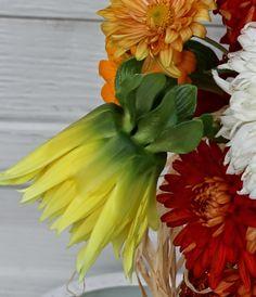 HALLOWEEN ARRANGEMENTS - Using my first reblooming tall bearded iris, fall mums, dahlias, and zinnias