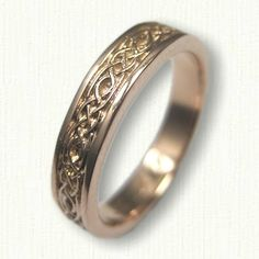 14kt Rose Gold Celtic Longford Knot Wedding Band - Available In All Metals and Sizes