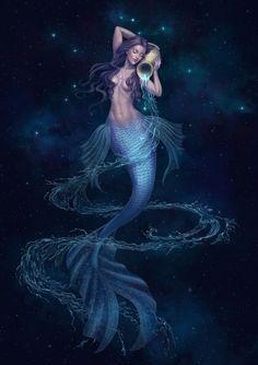 Aquarius Art, Aquarius Tattoo, Aquarius Zodiac, Mermaid Artwork, Mermaid Drawings, Mermaid Paintings, Fantasy Mermaids, Mermaids And Mermen, Real Mermaids