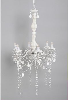 large ceramic shell chandelier