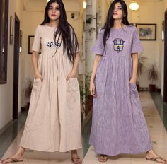 A great cotton kurta/ tunic with a little bit of embroidery. Kurti Patterns, Dress Patterns, Kurti Neck Designs, Blouse Designs, Indian Dresses, Indian Outfits, Cotton Gowns, Kaftan, Hijab Style