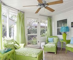 "When a green wicker chaise made its way into Coslick's life, she began looking for similar porch-friendly pieces. Over time they trickled in—some wicker, some wood, none green. Spray paint (Rust-Oleum's Key Lime) and coordinated fabrics yielded a self-styled suite. ""Choose a single fabric for all the cushions,"" says Coslick, ""or a mix of fabrics in the same colors."" Then add an accent, like turquoise, to keep it interesting."
