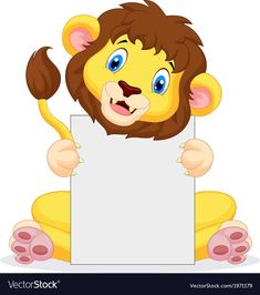 Lion cartoon holding blank sign vector image on VectorStock Boarder Designs, Page Borders Design, Diy Fabric Jewellery, Art For Kids, Crafts For Kids, Farm Animal Coloring Pages, Blank Sign, School Frame, Creative Activities For Kids