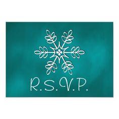 Teal Snowflake Wedding RSVP Response Card