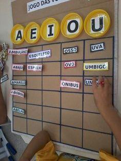 Oi Pessoal, Este é o tabuleiro das vogais. Smples, Penso que todas vocês tem um jogo que envolva as vogais. Entã, vou contar como utilizei...