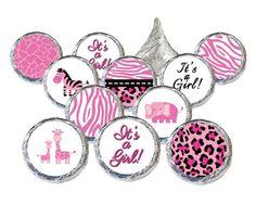 Sweet Safari Jungle Girl Baby Shower Stickers - Pink (Set of 324)