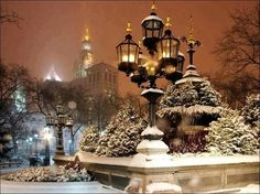 SEASONAL – WINTER – a new-fallen snow appears so peaceful, but still gives me the chills on a snowy night in new york city, photo via karyn. New York Christmas, Christmas Scenes, Winter Christmas, Christmas Time, Christmas Windows, Christmas Images, Winter Snow, Merry Christmas, New York Noel