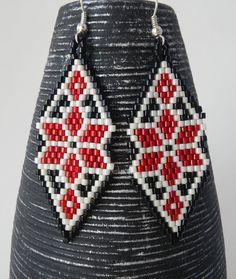 Ukrainian embroidery peyote earrings Embroidery by ViktoriaBeads