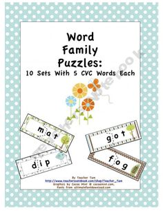 Word Family Puzzles: 10 Sets With 5 CVC Words Each