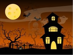 Halloween Haunted House Stock Photo