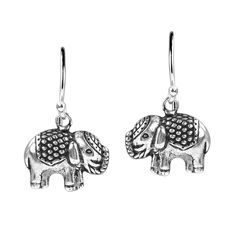 Thai Royal Elephant .925 Sterling Silver Dangle Earrings >>> Read more at the image link. (This is an affiliate link) #Jewelry