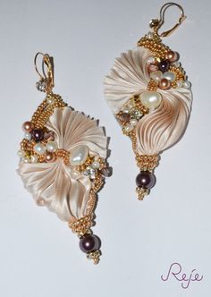 "Shibori silk earrings ""Shimmering Shells""handmade in Italy, with pearls, crystals,entirely hand-sewn Haute Couture"
