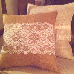 Burlap lace pillows