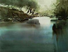 by Manolo Jiménez Watercolor Landscape, Landscape Paintings, Watercolor Paintings, Watercolors, Watercolor Techniques, Art Techniques, Urban Landscape, Strand, Painting & Drawing