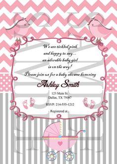 Pink and Grey Chevron Buggy Baby Boy Shower Invitation DiY Digital   FindYourDesigns - Digital Art on ArtFire