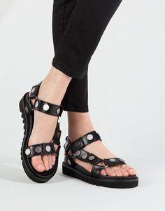 Pull&Bear - woman - women's shoes - studded sandals - black - 11795111-V2016
