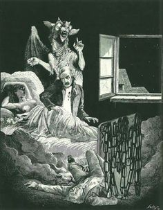 Vintage illustration of a vampire who somewhat resembles Edgar Allan Poe, inappropriately touching a naked, predated lady while her stupefied man friend sprawls on the floor and a sassy gargoyle dances in the background Arte Horror, Gothic Horror, Horror Art, Vampire Illustration, Art Et Illustration, Illustrations, Dark Fantasy, Fantasy Art, Art Noir