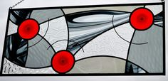Contemporary Stained Glass Window Panel for your Home Decor...'In Motion'...Red Rondels at Play with Black Baroque and Gray, Clear Textures