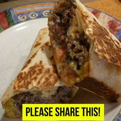 INGREDIENTS: 1 lb.95% lean ground beef 1/4 cuponion, diced 2 tbsp.ketchup 1 tbsp.mustard 1 tbsp.Worcestershire sauce Salt and pepper 4Flatout light wraps (or flour tortillas) 1 cupreduced fat shredded cheddar cheese 1/2 cupdill pickles 1tomato, sliced 1 cuplettuce DIRECTIONS: Heat a nonstick pan over medium