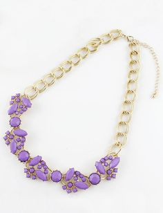 Purple Gemstone Gold Double Layers Chain Necklace US$7.51