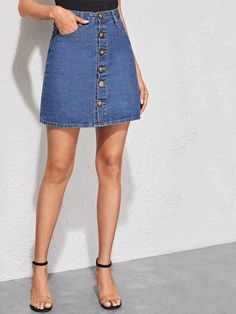 To find out about the Bleach Wash Button Front Denim Skirt at SHEIN, part of our latest Denim Skirts ready to shop online today! Demin Skirt Outfit, Demin Jacket, Button Front Denim Skirt, Bleach Wash, Denim Shop, Colored Denim, Jumpsuit Dress, Lingerie Sleepwear, Autumn Summer