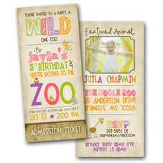 Tall Zoo Birthday Invitation featuring YOU GIRL by designink, $16.99
