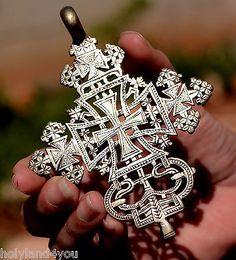 Necklace Cross Pendant Ethiopian Coptic Processional Superb Large Silver 800