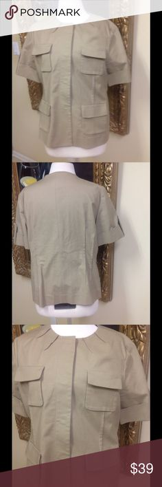 Michael Kors tan Jacket Size 14 Adorable short sleeve tan jacket by Michael Kors size 14.  Four pockets,military style, cuffed sleeve, nice condition, low price. Michael Kors Jackets & Coats Utility Jackets