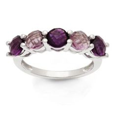 Rose de France and Purple Amethyst Band in 10K White Gold