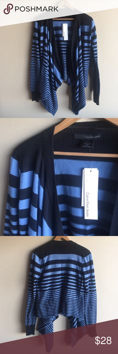 Striped waterfall draping cardigan sweater Super cute and cozy open front cardigan, brand new with tags! 100% cotton, machine washable. Ribbing at shoulders, neck line and cuffs. Navy blue and blue stripes. Calvin Klein Jeans Sweaters Cardigans