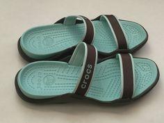 Crocs Shoes Mary Jane Slip On Sandals Khaki Brown & Green Slides Women's 9 #Crocs #Slides #Casual