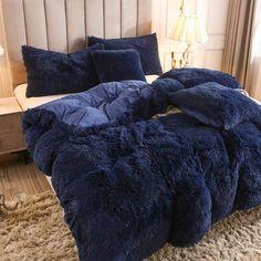 Fluffy Duvet Cover With Pillow Cover 3 Pieces Set Tiki Bars, Teen Girl Bedding, Dorm Bedding, Velvet Bedspread, Fluffy Blankets, Quilt Cover Sets, Comforter Sets, Blue Bedding Sets, Dream Bedroom