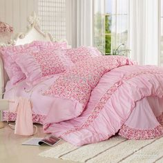Wholesale Korean 100% Cotton bedding sheets pink city view comfortable and soft bed sets duvet cover pillowcase for home textiles, $78.38-85.5/Piece   DHgate
