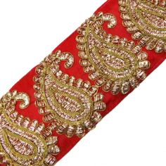 Red Base Fabric Trim Paisley Style Acrylic Thread Sewing Lace Saris Border 1 Yd
