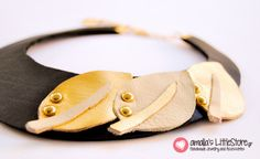 Handmade black leather necklace with gold and beige leaves! Leather Necklace, Black Leather, Beige, Bracelets, Gold, Handmade, Accessories, Jewelry, Leaves
