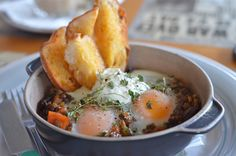 Lady Marmalade Cafe in Woolloongabba for #MushroomMania - Mushroom and Lentil Baked Eggs with Kale and Sweet Potato, served with Toast Soldiers and Chestnut Sour Cream @Power of Mushrooms
