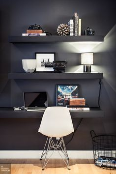 floating shelves could work for laptop desks if they are deep enough. http://www.romanow.le-vel.com/