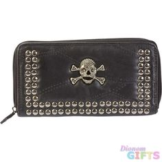 HOT PINK RHINESTONE STUDDED SKULL WITH WINGS LOOK CLUTCH TRIFOLD WALLET BIKER