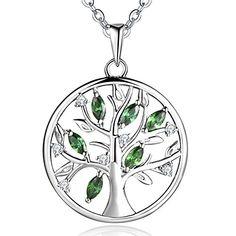 JO WISDOM collier pendentif émeraude vert arbre de vie Yggdrasil argent 925 femme AAA zirconium cristal swarovskiTaille: 21 mm Chaîne: 45-50cm