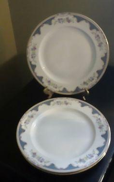 """Royal Bayreuth 9 7/8"""" Dinner Plates """"Corona"""" Pattern White BG w/Floral Rim #RoyalBayreuth"""