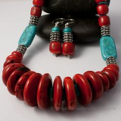 Red Coral Turquoise and Sterling Silver by adornedbynature on Etsy