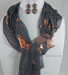 Black and Copper Scarf Necklace with Matching Buckle and di ljeans Scarf Rings, Scarf Necklace, Fabric Necklace, Scarf Jewelry, Fabric Jewelry, Jewellery, Diy Scarf, Scarf Shirt, Diy Fashion