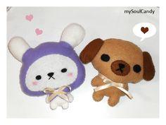 Cute Bunny & Puppy Felt Plushies