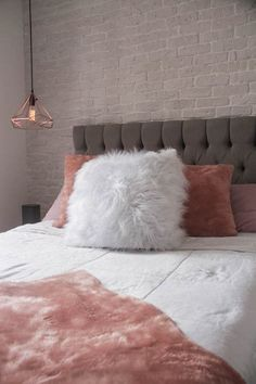 Charming bedroom design with tufted headboard