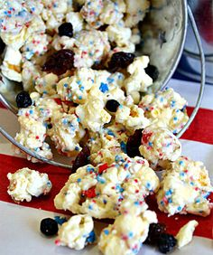 Make this festive cake batter popcorn for the 4th.